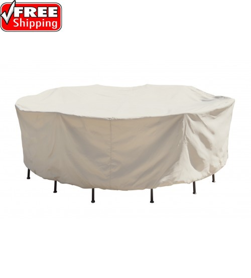 """Treasure Garden Protective Furniture Cover - 54"""" Round Table and Chairs w/6 ties, elastic & spring cinch lock"""