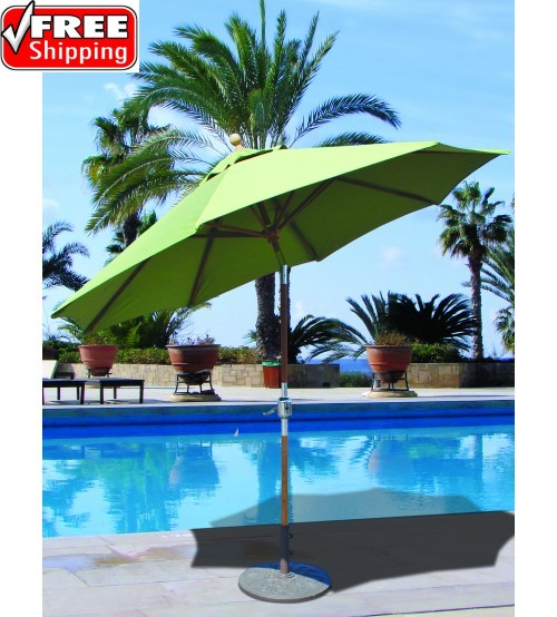 Galtech 537 - 9 FT Teak Market Umbrella / Rotational Tilt Frame Only