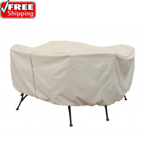 """Treasure Garden Protective Furniture Cover - 54"""" Round Table and Chairs w/6 ties, velcro closure, elastic & spring cinch lock"""