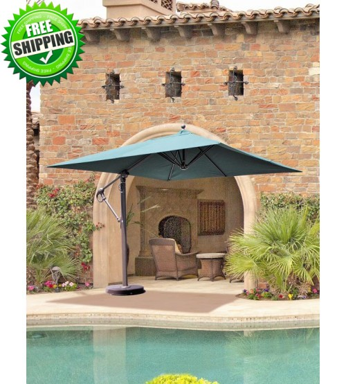 Galtech 897 - 10x10 FT Square Cantilever Umbrella w/ Roller Base