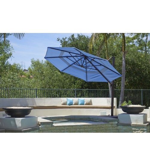 California Umbrella 11' Octagon Cantilever Umbrella w/ Base