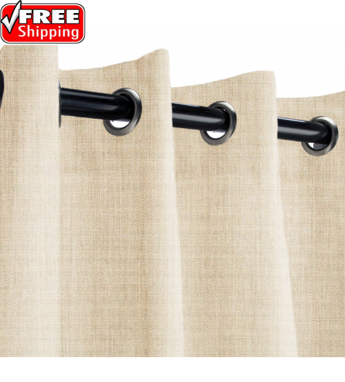 Sunbrella Outdoor Curtain with Nickel Grommets - Canvas Flax