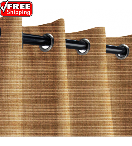Sunbrella Outdoor Curtain with Stainless Steel Grommets - Dupione Caramel