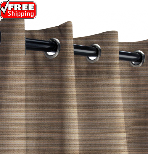 Sunbrella Outdoor Curtain with Stainless Steel  Grommets - Dupione Stone