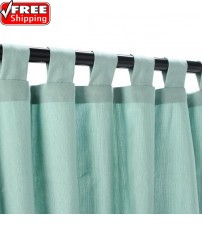 Sunbrella Outdoor Curtain With Tabs - Mist