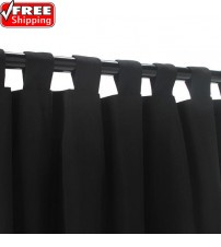 Sunbrella Outdoor Curtain With Tabs - Black