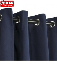 Sunbrella Outdoor Curtain with Nickel Grommets - Canvas Navy