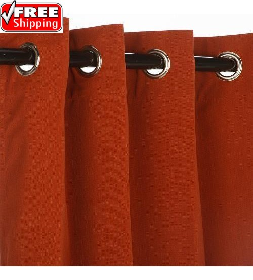 Sunbrella Outdoor Curtain with Nickel Grommets - Canvas Brick