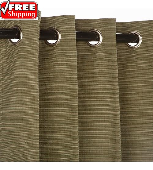 Sunbrella Outdoor Curtain with Nickel Grommets - Dupione Laurel