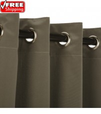 Sunbrella Outdoor Curtain with Nickel Grommets - Canvas Charcoal
