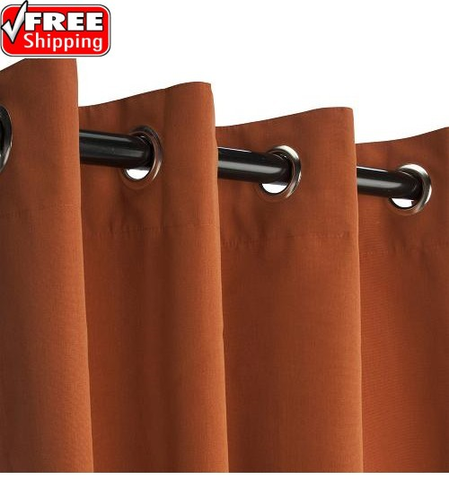Sunbrella Outdoor Curtain with Nickel Grommets - Rust