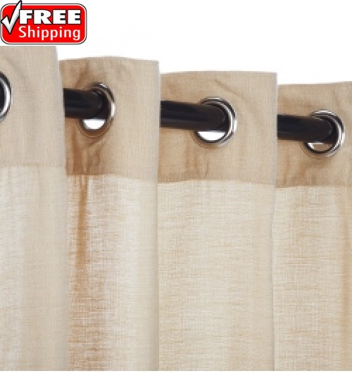 Sunbrella Outdoor Curtain with Nickel Grommets - Honey (SHEER)
