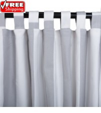 Sunbrella Outdoor Curtain with Tabs - Solana Seagull (stripe)