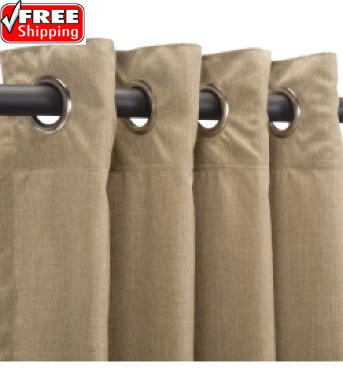 Sunbrella Outdoor Curtain with Nickel Grommets - Cast Tinsel