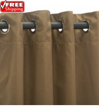 Sunbrella Outdoor Curtain with Stainless Steel Grommets - Canvas Cocoa