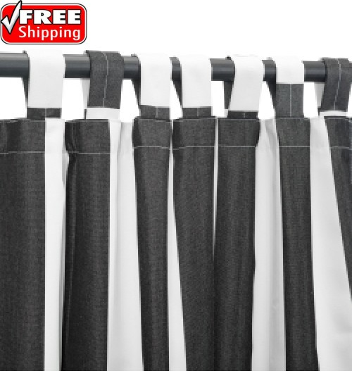 Sunbrella Outdoor Curtain with Tab Top - Cabana Black