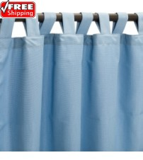 Sunbrella Outdoor Curtain with Tab Top - Canvas Air Blue