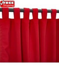 Sunbrella Outdoor Curtain with Tab Top - Canvas Jockey Red