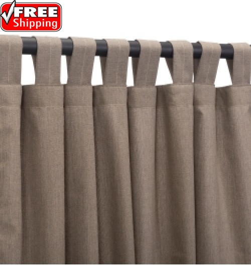 Sunbrella Outdoor Curtain with Tab Top - Cast Shale