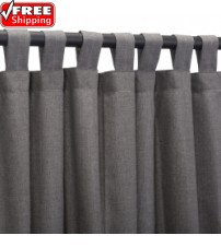 Sunbrella Outdoor Curtain with Tab Top - Cast Slate