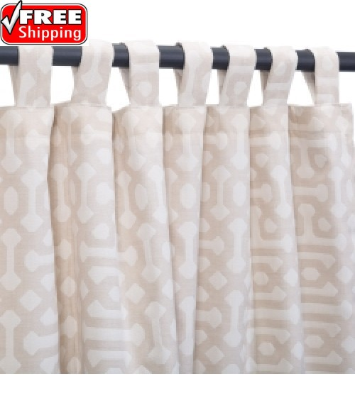 Sunbrella Outdoor Curtain with Tab Top - Fretwork Flax