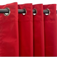 Sunbrella Outdoor Curtain with Nickel Grommets - Canvas Jockey Red