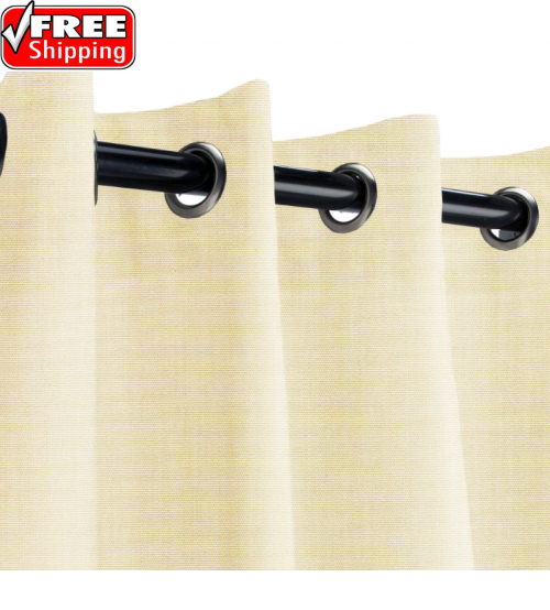 Sunbrella Outdoor Curtain with Stainless Steel Grommets - Canvas Vellum