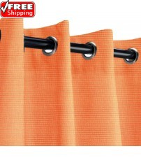 Sunbrella Outdoor Curtain with Nickel Grommets - Tangerine