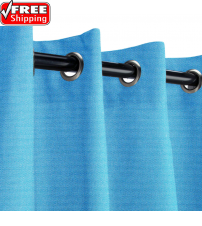 Sunbrella Outdoor Curtain with Nickel Grommets - Canvas Capri