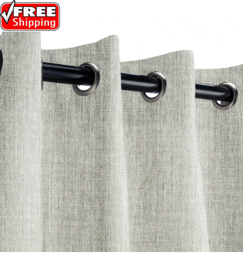 Sunbrella Outdoor Curtain with Nickel Grommets - Canvas Granite