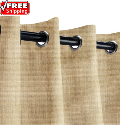 Sunbrella Outdoor Curtain with Stainless Steel Grommets - Canvas Heather Beige