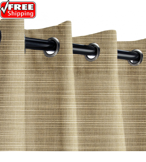 Sunbrella Outdoor Curtain with Stainless Steel Grommets - Dupione Latte