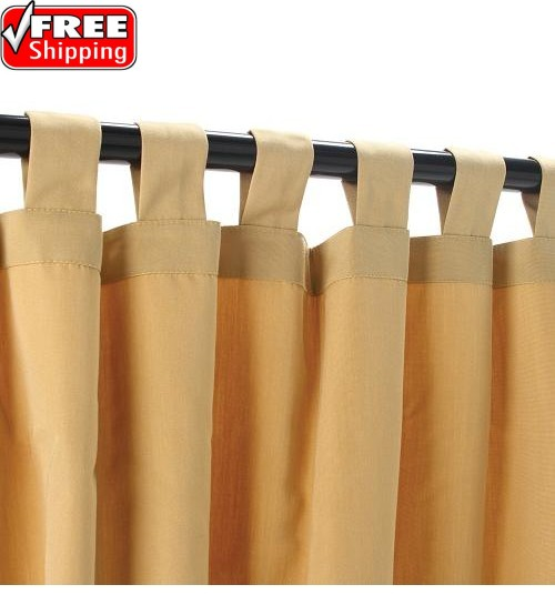 Sunbrella Outdoor Curtain With Tabs - Wheat