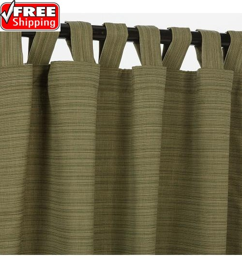 Sunbrella Outdoor Curtain With Tabs - Dupione Laurel