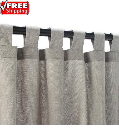 Sunbrella Outdoor Curtain With Tabs - Dove