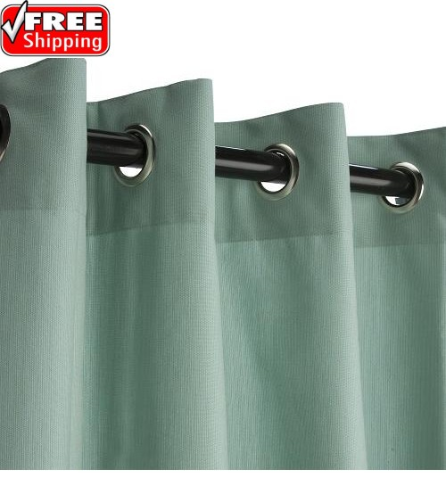 Sunbrella Outdoor Curtain with Nickel Grommets - Spectrum Mist