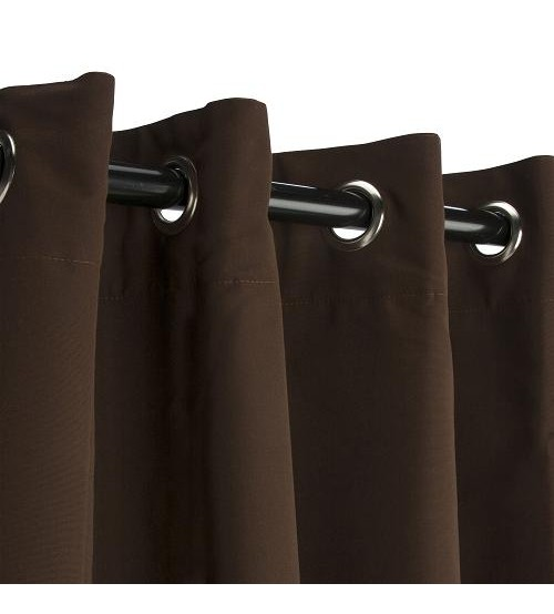 Sunbrella Outdoor Curtain with Nickel Grommets - Bay Brown