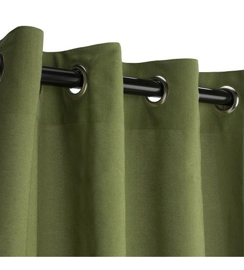 Sunbrella Outdoor Curtain with Nickel Grommets -  Spectrum Cilantro
