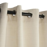 Sunbrella Outdoor Curtain with Nickel Grommets - Dupione Pearl