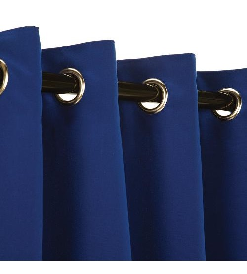 Sunbrella Outdoor Curtain with Nickel Grommets - True Blue