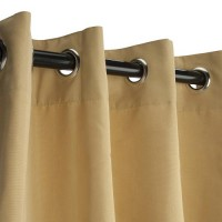 Sunbrella Outdoor Curtain with Nickel Grommets - Wheat