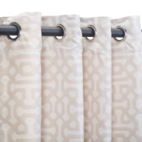 Sunbrella Outdoor Curtain with Nickel Grommets - Fretwork Flax