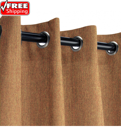 Sunbrella Outdoor Curtain with Nickel Grommets - Canvas Teak