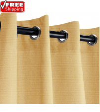 Sunbrella Outdoor Curtain with Nickel Grommets - Canvas Brass