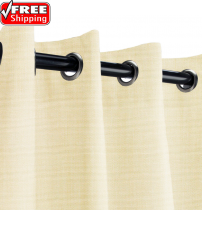 Sunbrella Outdoor Curtain with Nickel Grommets - Canvas Vellum