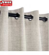 Sunbrella Outdoor Curtain with Stainless Steel Grommets - Cast Silver