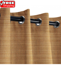 Sunbrella Outdoor Curtain with Nickel Grommets - Dupione Caramel