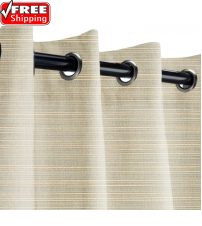 Sunbrella Outdoor Curtain with Stainless Steel Grommets - Dupione Dove