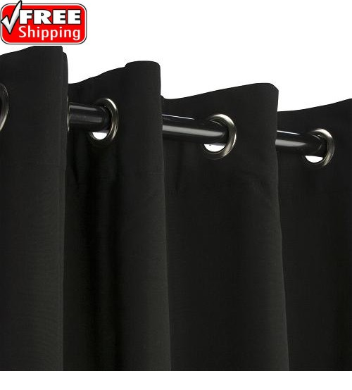 Sunbrella Outdoor Curtain with Nickel Grommets - Black