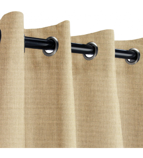 Sunbrella Outdoor Curtain with Nickel Grommets - Canvas Heather Beige